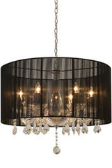 Buy Six Light Clear Crystal Chandelier with Clear Crystal Drops And Black Drum Shape String Shade From Lighting Originals