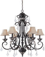 1-6453796581-4 Dolan Florence Collection Six Light Chandelier with Mocha Fabric Shades & Crystal Octagons
