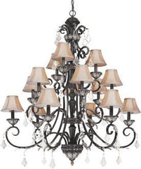 1-7518328413-6 Dolan Florence Collection Fifteen Light Foyer Chandelier with Mocha Fabric Shades & Crystal