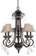 1-8023069548-4 Dolan Florence Collection Five Light Chandelier with Mocha Fabric Shades & Crystal Octagons