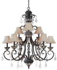 1-9465626523-4 Dolan Florence Collection Nine Light Chandelier with Mocha Fabric Shades & Crystal Octagons