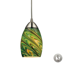 Elk 10089/1EVG-LA Mini Vortex 1 Light Pendant In Satin Nickel & Evergreen Glass - Includes Recessed Lighting Kit