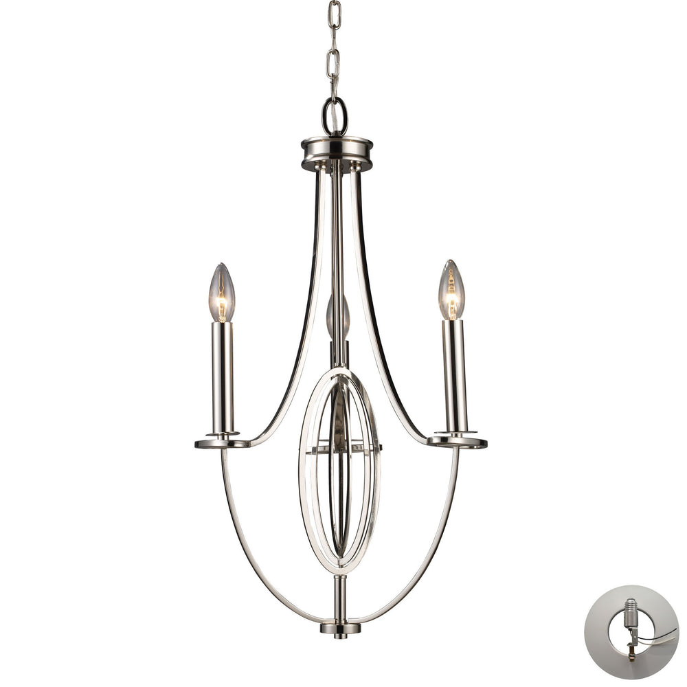 Elk Dione 3 Light Chandelier In Polished Nickel Model: 10120/3-LA