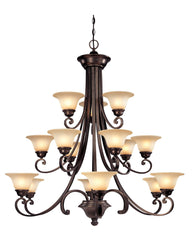 1083-207 Dolan Designs Brittany 15 Light 3 Tier Chandelier Deep Bronze