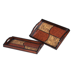 118-0045 Sterling Set Of 2 Quartered Trays