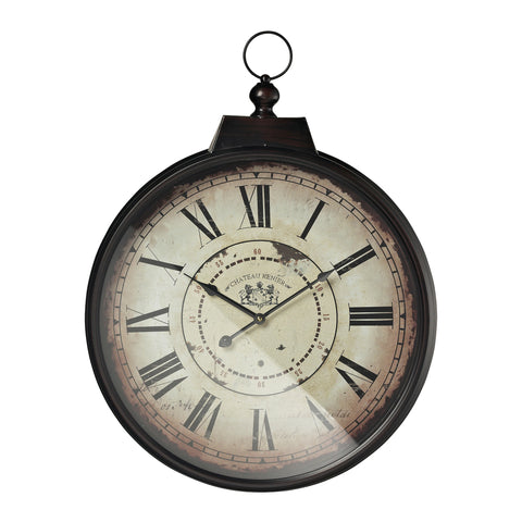 118-0434 Sterling Chateau Renier Clock With Bronze Metal Frame
