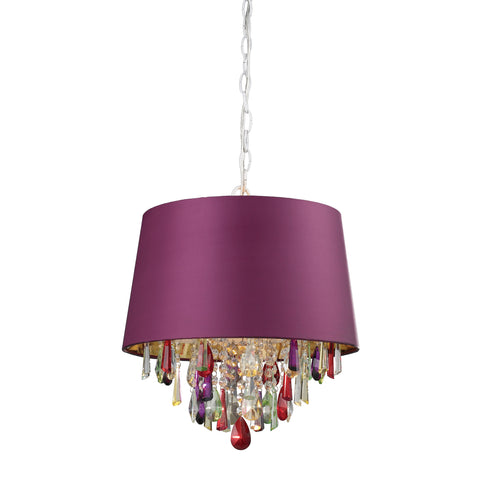 122-0071 Sterling Sterling Purple Drum Pendant Light With Crystal Drops