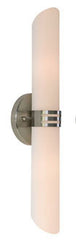 Buy Two Light Contempoary Wall Sconce with White Opal Sloped Cylinder Glass In Brushed Nickel Finish From Lighting Originals
