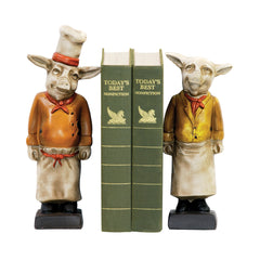 4-3033007 Sterling Pair Chef Pig Bookends