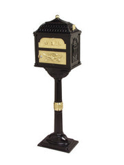 Buy Black Classic Collection Die-Cast Aluminum Pedestal Mailbox with Polished Brass Accents From Lighting Originals