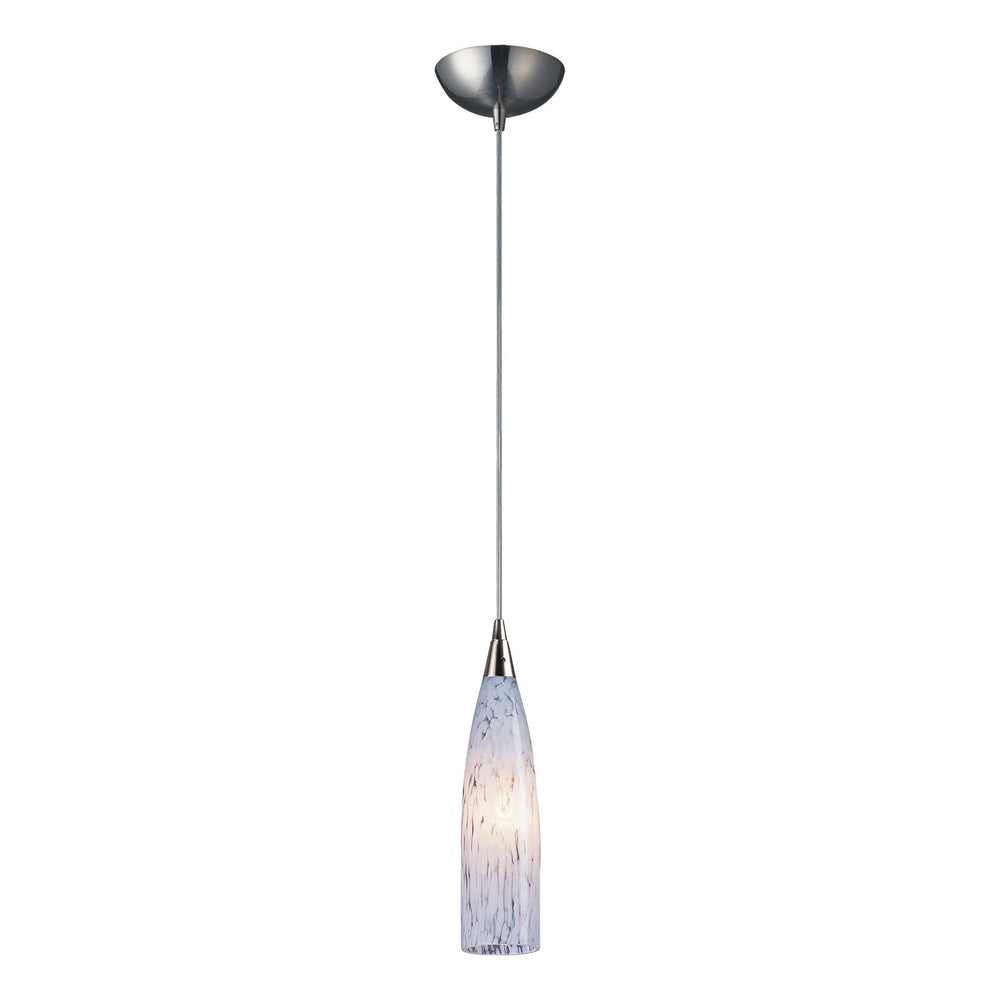 501-1SW-LED Elk 1 Light Pendant In Satin Nickel And Snow White Glass - LED