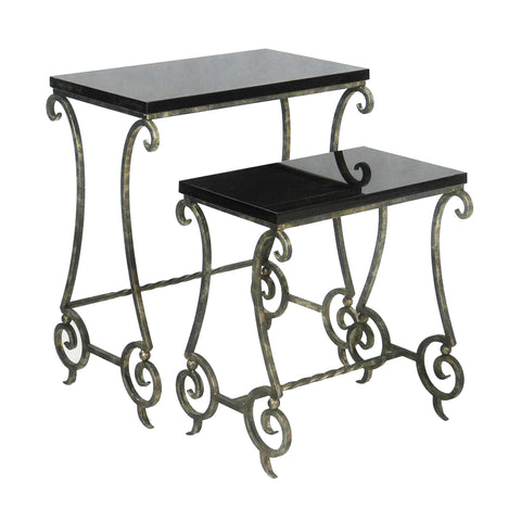 51-01383 Sterling Set/2 Marble Stacking Side Tables