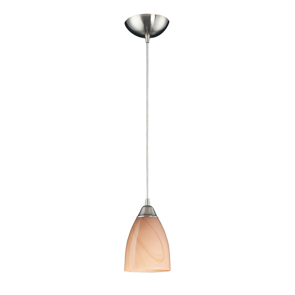527-1SY-LED Elk 1 Light Pendant In Satin Nickel And Sandy Glass - LED