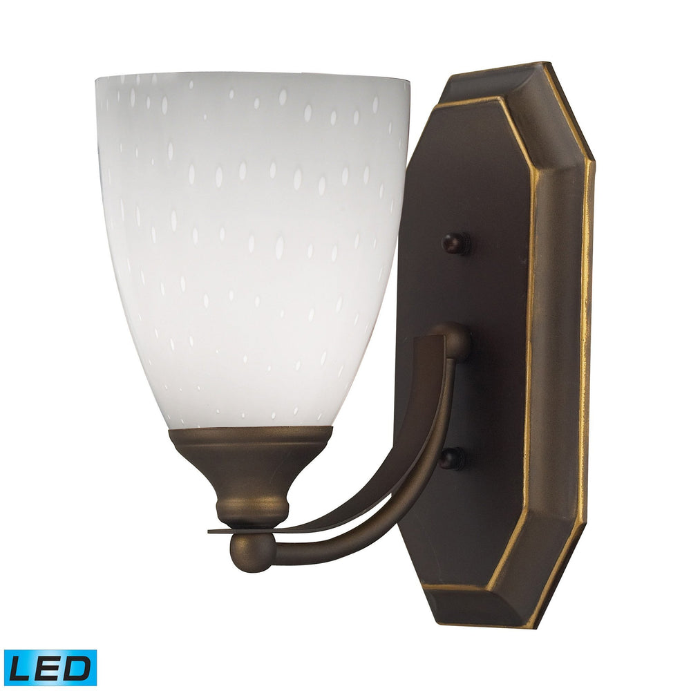 570-1B-WH-LED Elk 1 Light Vanity In Aged Bronze And Simply White Glass - LED