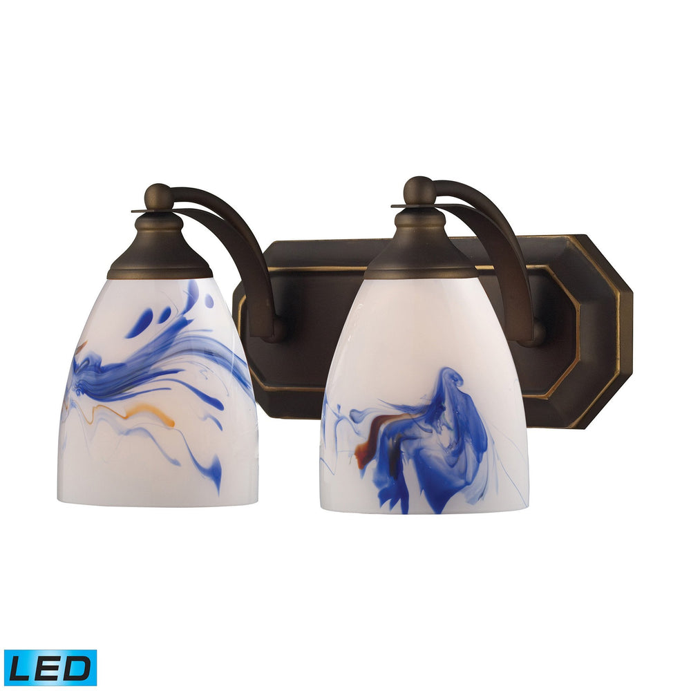 570-2B-MT-LED Elk 2 Light Vanity In Aged Bronze And Mountain Glass - LED