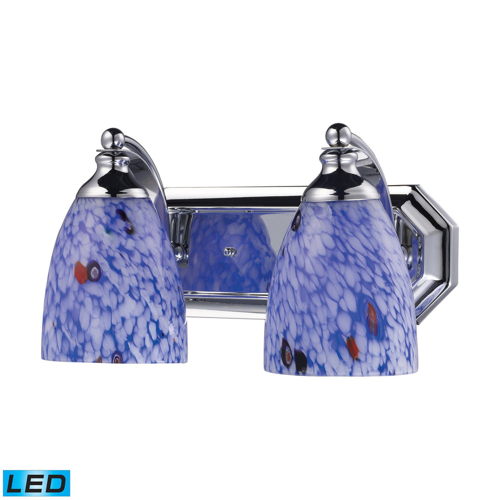 570-2C-BL-LED Elk 2 Light Vanity In Polished Chrome And Starburst Blue Glass - LED