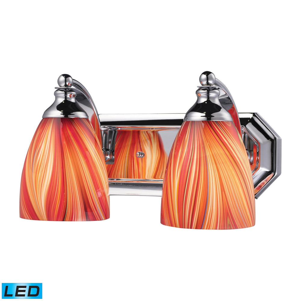 570-2C-M-LED Elk 2 Light Vanity In Polished Chrome And Multi Glass - LED