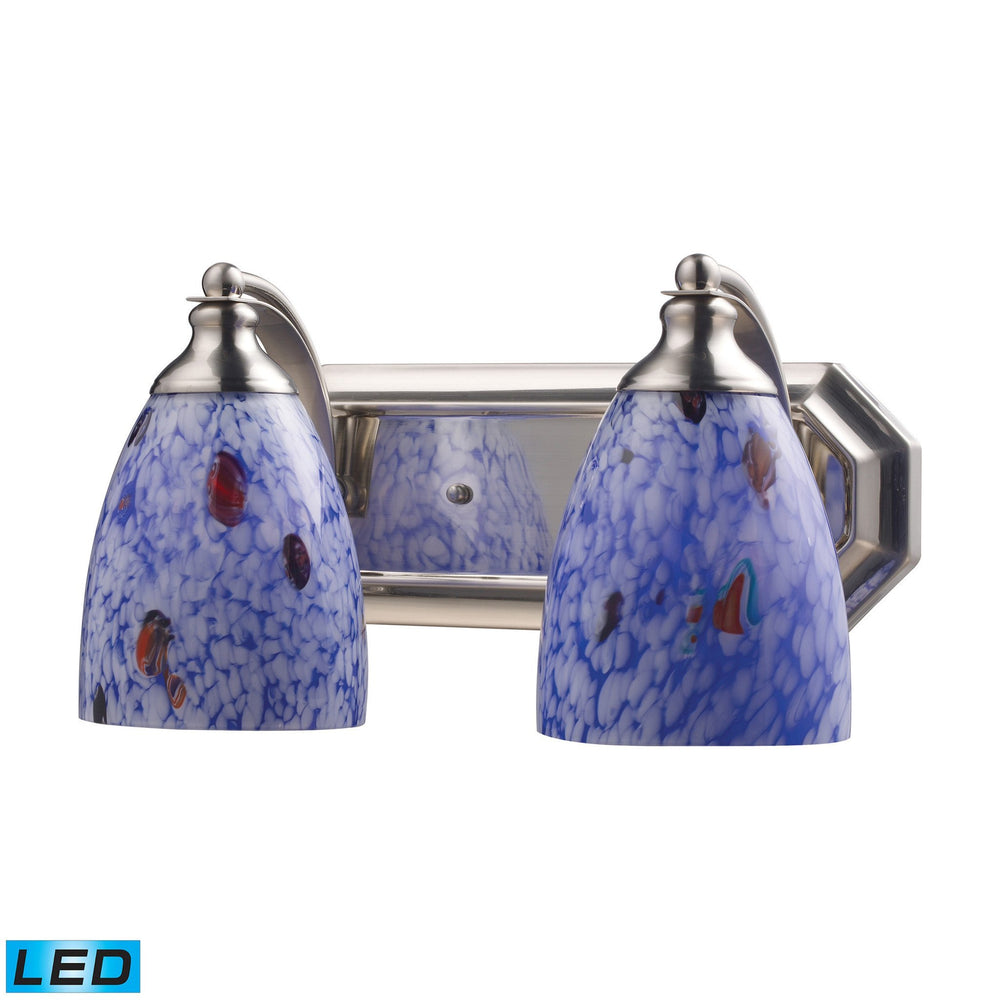 570-2N-BL-LED Elk 2 Light Vanity In Satin Nickel And Starburst Blue Glass - LED