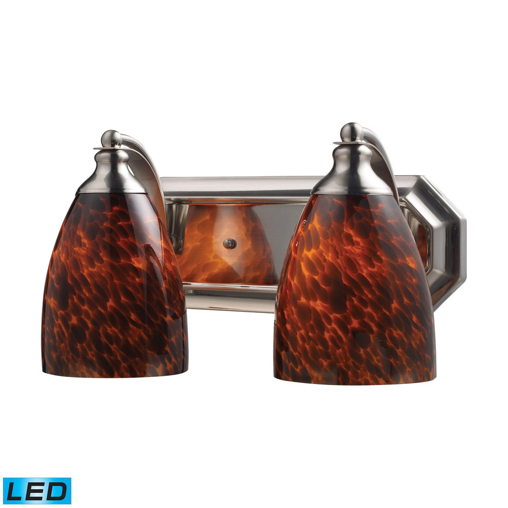 570-2N-ES-LED Elk 2 Light Vanity In Satin Nickel And Espresso Glass - LED