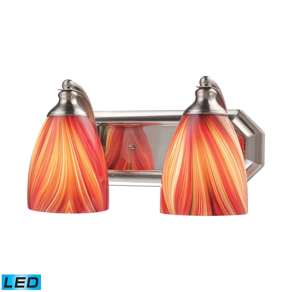 570-2N-M-LED Elk 2 Light Vanity In Satin Nickel And Multi Glass - LED