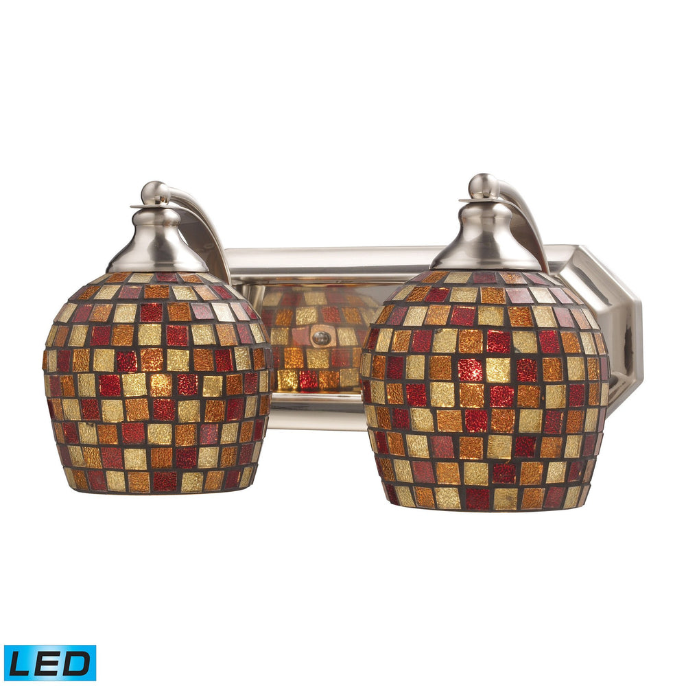 570-2N-MLT-LED Elk 2 Light Vanity In Satin Nickel And Multi Mosaic Glass - LED