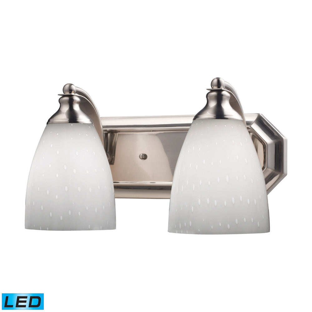 570-2N-WH-LED Elk 2 Light Vanity In Satin Nickel And Simply White Glass - LED