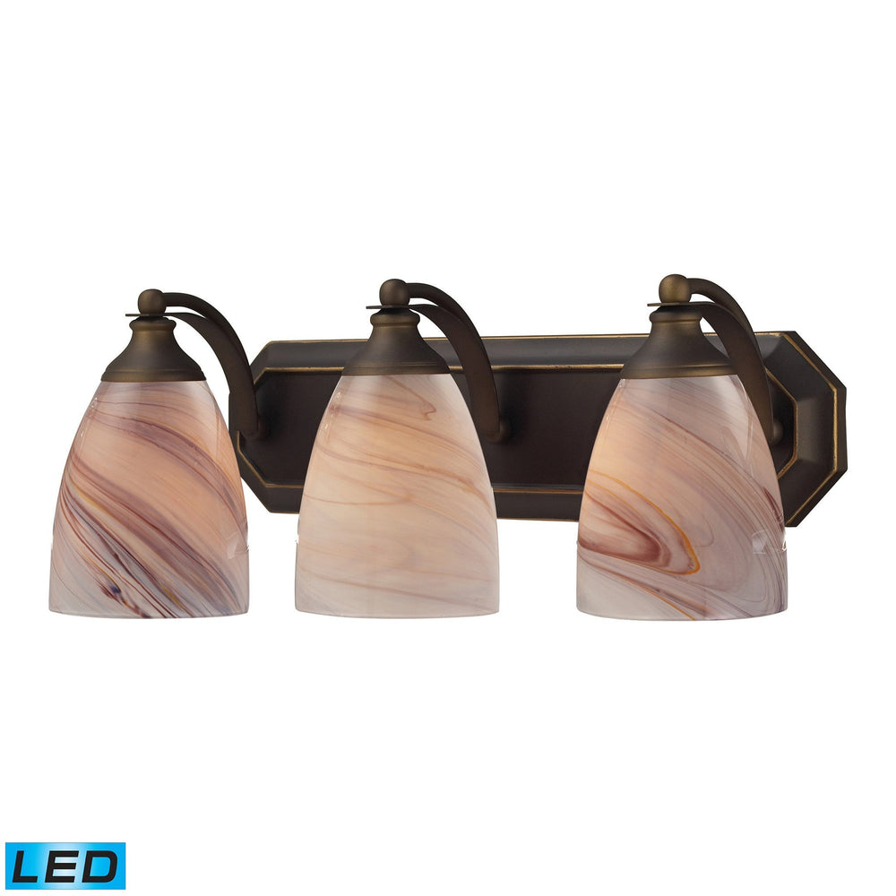 570-3B-CR-LED Elk 3 Light Vanity In Aged Bronze And Creme Glass - LED
