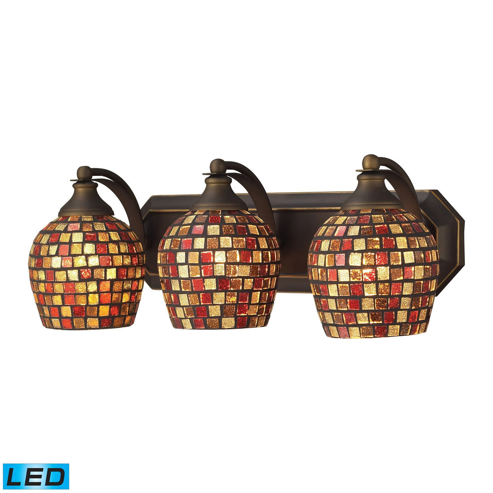570-3B-MLT-LED Elk 3 Light Vanity In Aged Bronze And Multi Mosaic Glass - LED