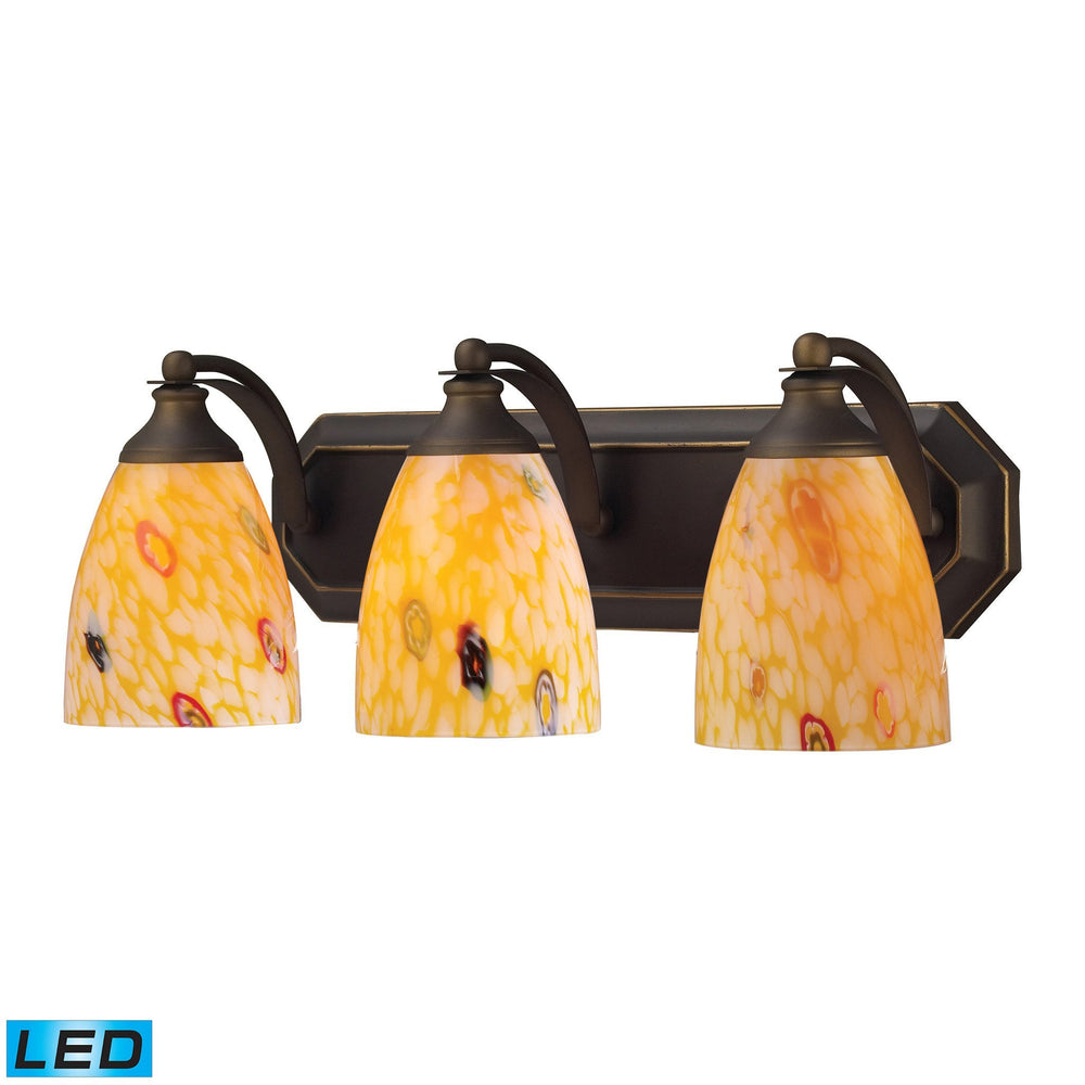 570-3B-YW-LED Elk 3 Light Vanity In Aged Bronze And Yellow Blaze Glass - LED