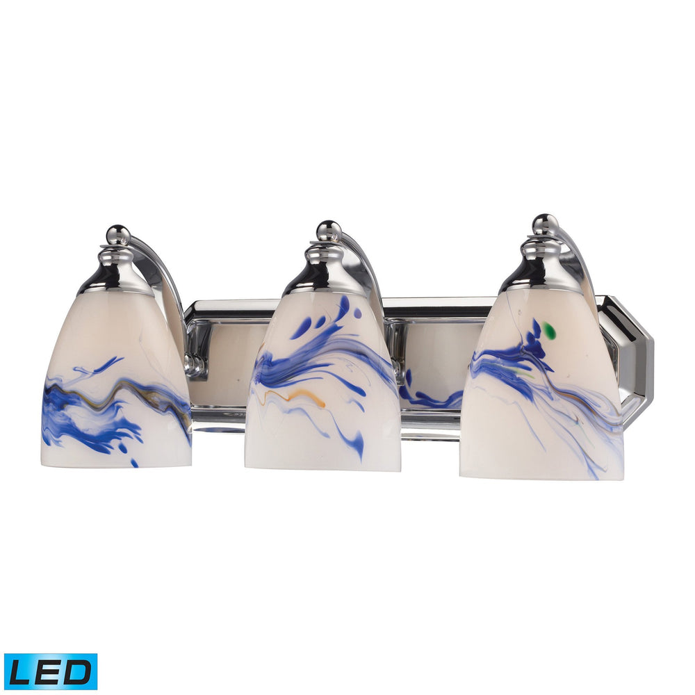 570-3C-MT-LED Elk 3 Light Vanity In Polished Chrome And Mountain Glass - LED
