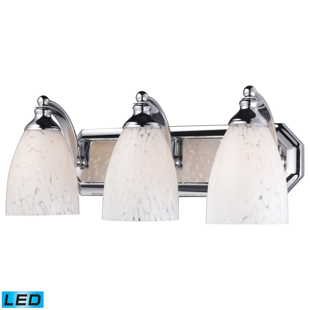 570-3C-SW-LED Elk 3 Light Vanity In Polished Chrome And Snow White Glass - LED