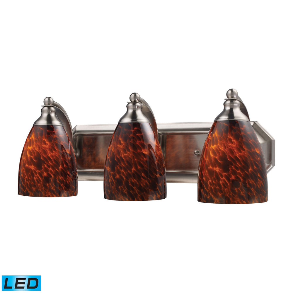 570-3N-ES-LED Elk 3 Light Vanity In Satin Nickel And Espresso Glass - LED