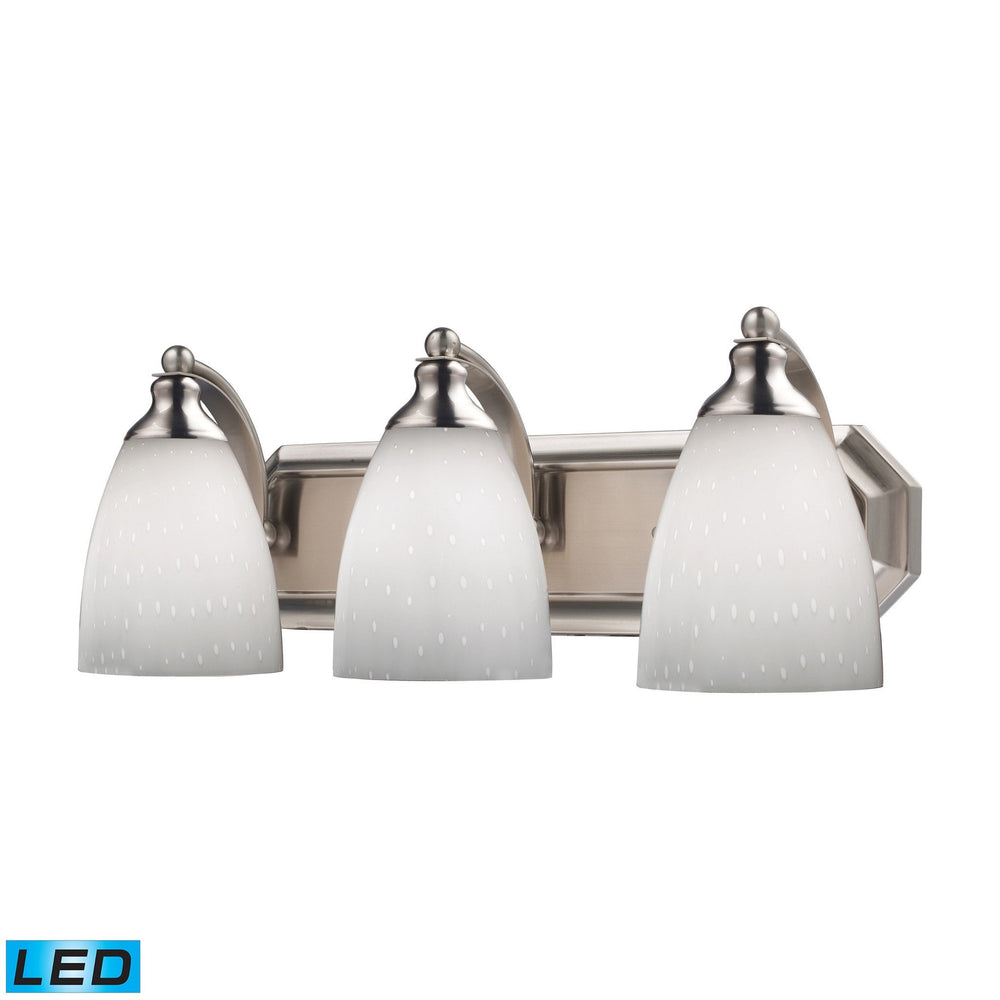 570-3N-WH-LED Elk 3 Light Vanity In Satin Nickel And Simply White Glass - LED