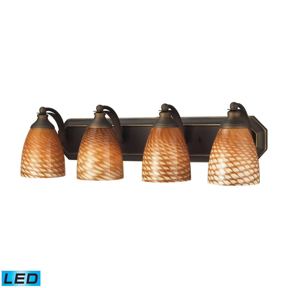 570-4B-C-LED Elk 4 Light Vanity In Aged Bronze And Coco Glass - LED