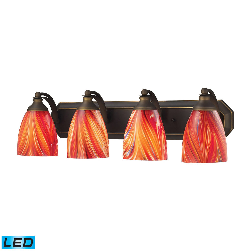 570-4B-M-LED Elk 4 Light Vanity In Aged Bronze And Multi Glass - LED