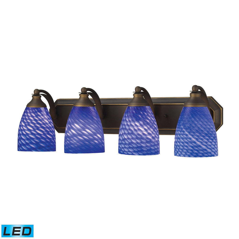 570-4B-S-LED Elk 4 Light Vanity In Aged Bronze And Sapphire Glass - LED