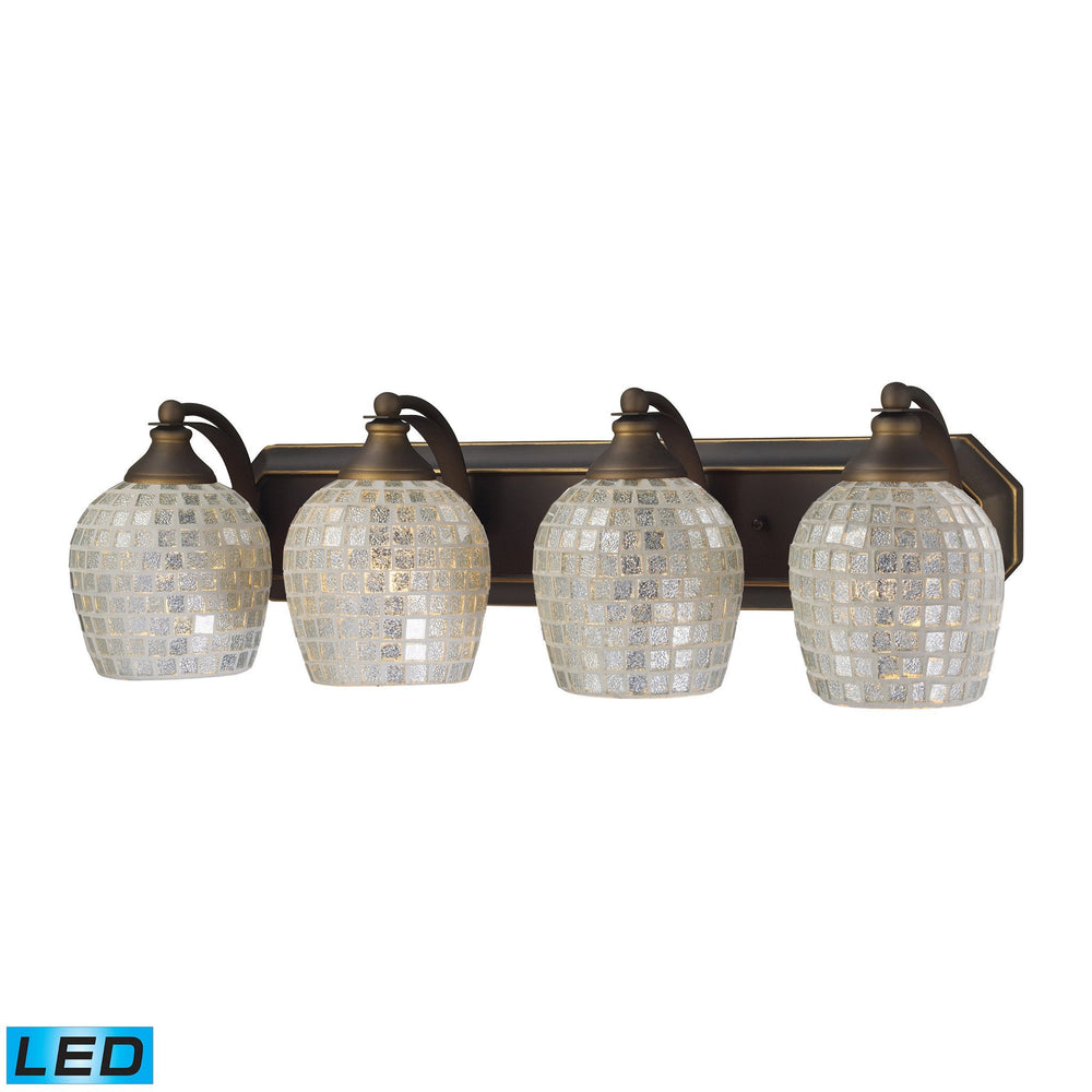 570-4B-SLV-LED Elk 4 Light Vanity In Aged Bronze And Silver Mosaic Glass - LED