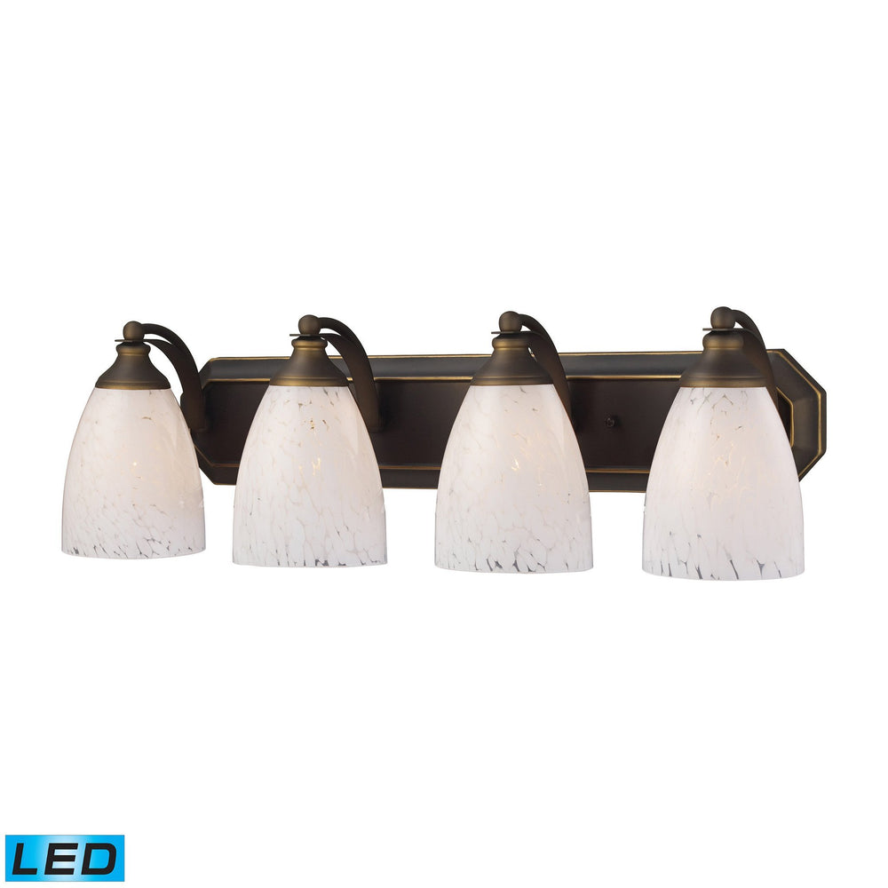 570-4B-SW-LED Elk 4 Light Vanity In Aged Bronze And Snow White Glass - LED