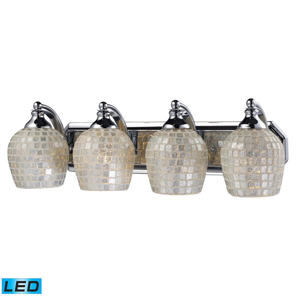 570-4C-SLV-LED Elk 4 Light Vanity In Polished Chrome And Silver Mosaic Glass - LED