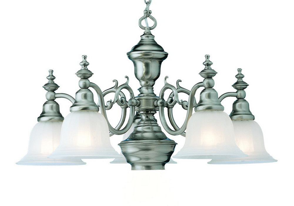 Buy 660-09 Dolan Designs Richland 5 Light +Downlight Chandelier Satin Nickel From LightingOriginals.ca