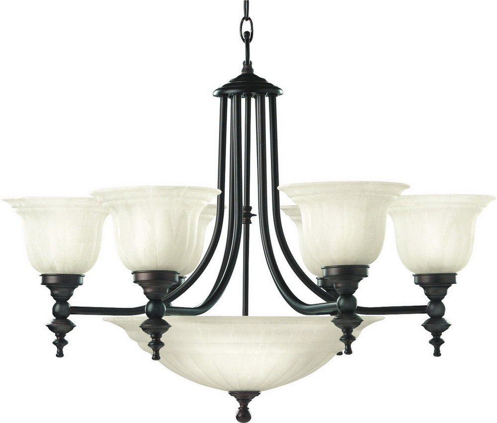 665-30 Dolan Designs Richland 6+3 Light Bowl Chandelier Royal Bronze