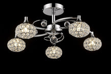 7101 Lighting Originals Jewel Collection 5 Light Crystal Swirl Ceiling Light with Crystal Balls