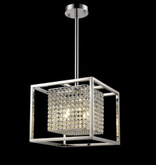 "7107 Lighting Originals Jewel Contempo Collection 12.5"" wide Nested Chrome & Crystal Cube Pendant Chandelier"