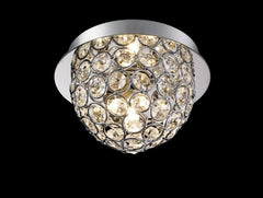 "768 Lighting Originals Jewel Collection 5"" Chrome Flush Ceiling Light Fixture with Embedded Crystals"