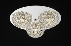 "769 Lighting Originals Jewel Collection 11"" Chrome Flush Ceiling Light Fixture with Embedded Crystals"