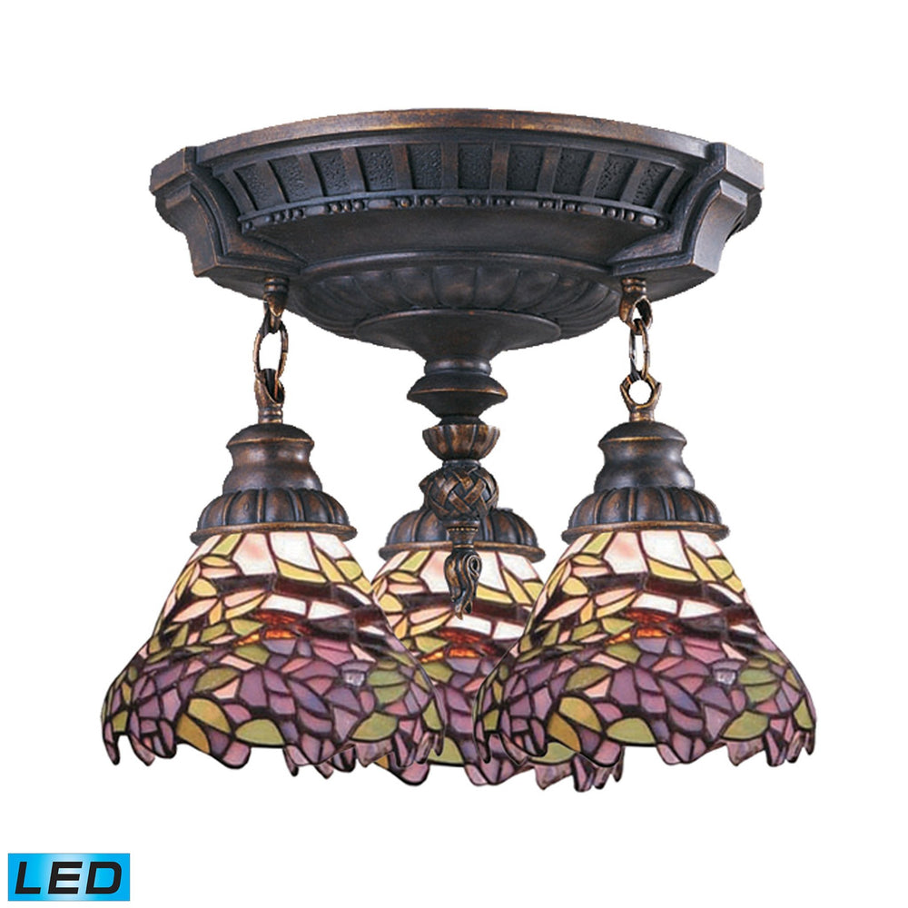 997-AW-28-LED Elk Mix-N-Match 3-Light Semi Flush In Aged Walnut - LED
