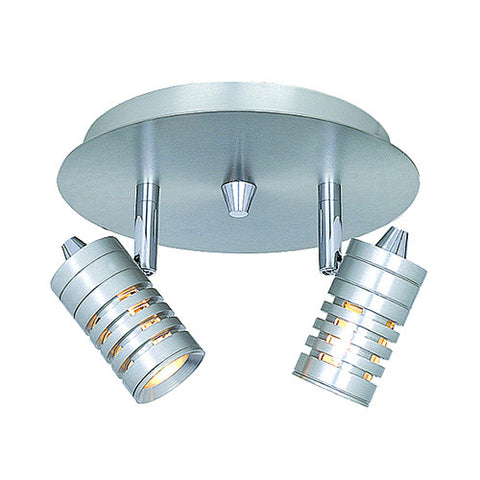 CK167-2-167 2-Light Circular Ceiling Track Fixture with Ribbed Heads
