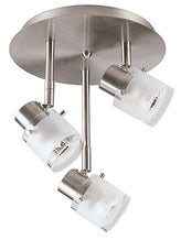 Buy 3-Light Satin Chrome Circular Track Halogen Ceiling Fixture with Clear/Frosted Glass Shades From Lighting Originals