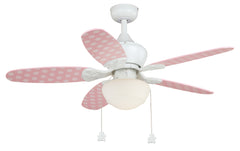"Buy F0035 Vaxcel Alex 44"" Ceiling Fan White - Pink Polka Dots/Pink Blades from LightingOriginals.ca"