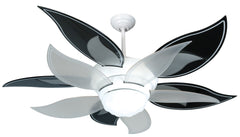 "Craftmade K10612 Bloom Ceiling Fan Kit in White with 52"" Bloom Black/Silver and Translucent Blades (Set of 10) and 0 0 Light Kit"